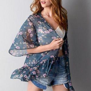 American Eagle   Floral Sheer Kimono - Size L/XL
